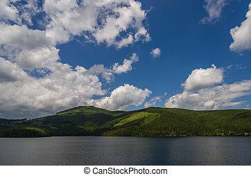 Lake, mountain and blue sky
