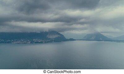 Lake mountains italy drone flight 4k maggiore como lake alps...