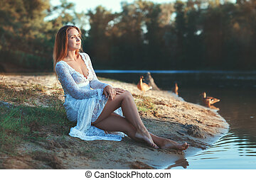 lake., mulher, floresta