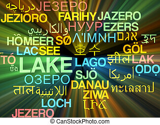 Lake multilanguage wordcloud background concept glowing