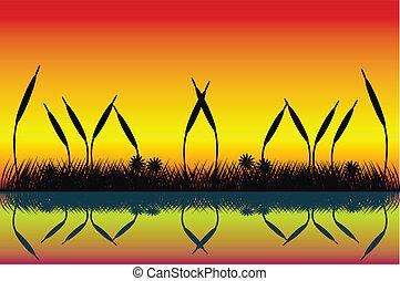 Lake night scene with grass silhouette