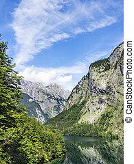 Lake Obersee with Watzmann - Lake Obersee and mountain...