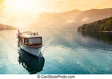 Lake of Bohinj - Slovenia - Beautiful sunset in lake of ...