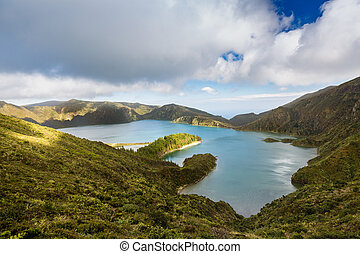 Lake of Fire (Lagoa do Fogo) in the crater of the volcano Pico do Fogo on the island of Sao Miguel