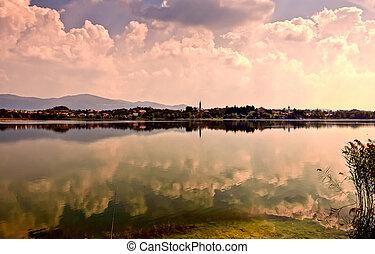 Lake of Pusiano, Italy