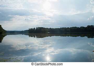 Lake on a cloudy summer day