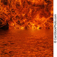 Lake on Fire - Flames pouring out of a lake with reflection