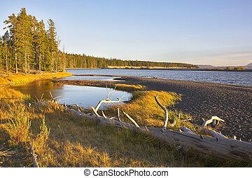 Lake on flat plain