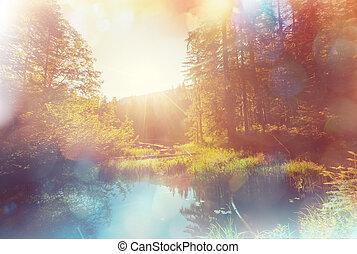 Lake on sunrise