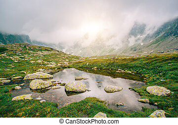 lake on the High Tatras Slovakia. Hiking in the nature.