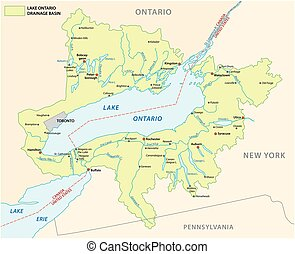 lake ontario basin vector map