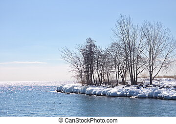Lake Ontario frozen shoreline