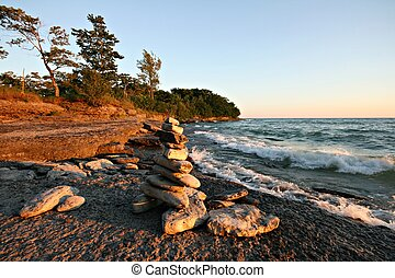 Lake Ontario Shore Line - An inukshuk on the shores of Lake ...