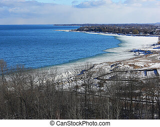 Lake Ontario with ice.