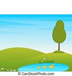 lake., paesaggio, albero