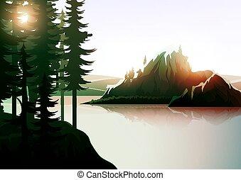 lake., paisagem montanha, floresta, natureza