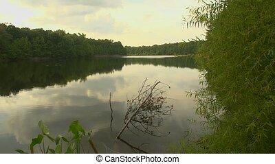 lake pan - A pan across a beautiful still tree-lined lake in...