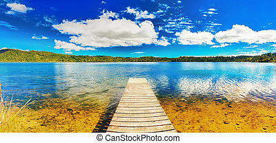 Lake panorama - Lake in New Zealand. Panorama