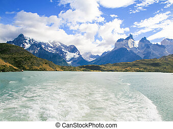 Lake Pehoe and Los Cuernos in Torres del Paine National Park in