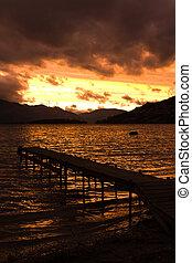 Lake pier at Sunset