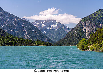 lake plansee in austrian alps, tyrol, austria