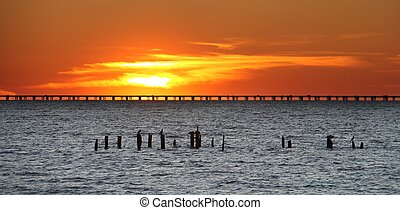Lake Pontchartrain causeway at sunset