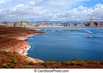 Lake Powell Arizona - Elevated view Lake Powell and marina...
