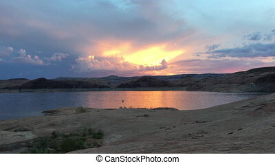 Lake Powell at Sunset Utah - Beautiful Sunset Sky at Lake...