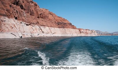 Lake Powell Canyon , view from a cruise boat in summer season, USA Slow motion
