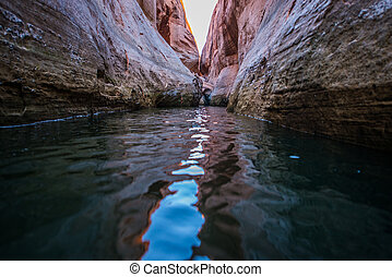 Calm Waters of Lake Powell in Narrow Slot Canyon near Lost Eden