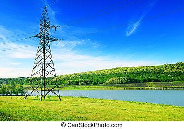 lake., puissance, rivage, ligne, a haute tension