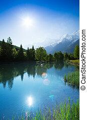 Lake reflections in sunshine near Chamonix