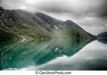 Lake reflections landscape in europe