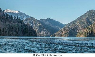 Lake Ritsa and the Caucasus mountains in Abkhazia - Natural...