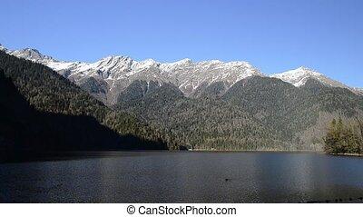Lake Ritsa and the Caucasus mountains in Abkhazia