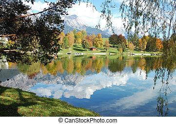 Lake Ritzensee in Austria - Beautiful reflection of austrian...