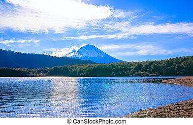 Lake Saiko and Mount Fuji, bright clouds