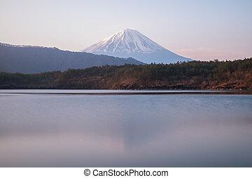 Lake Saiko with Mt.Fuji in morning, Yamanashi, Japan.