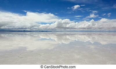 Lake Salar de Uyuni - Panorama of the reflecting surface of...