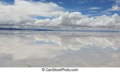 Lake Salar de Uyuni with thin layer - Panoramic view of the...