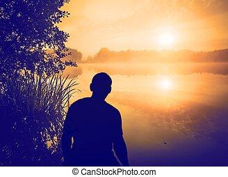 lake., salida del sol, encima, mirar, humano, hombre, ...