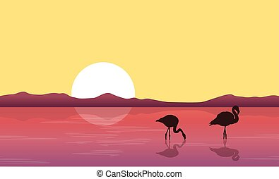 Lake scene with silhouette flamingo