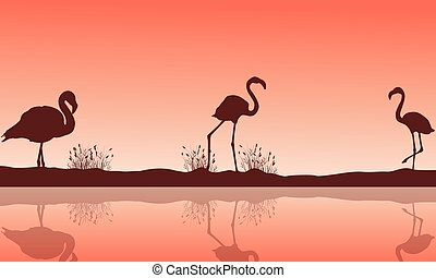 Lake scenery and flamingo silhouettes