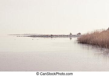 Lake scenery in the winter