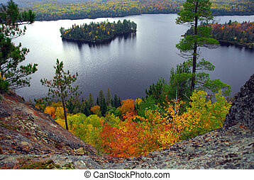 Lake scenery - Scenic view of a lake and islands in ...