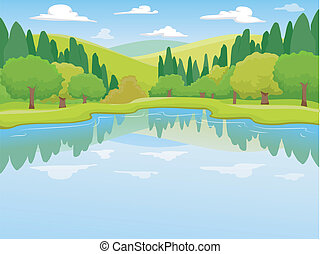 Lake Scenery - Illustration of a Peaceful Scenery Featuring...