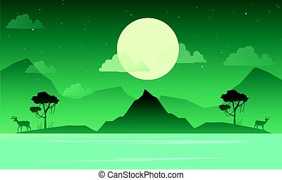 Lake scenery with mountain silhouette