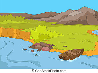 Lake Shore. Cartoon Background. Vector Illustration EPS 10.