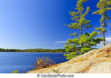 Lake shore in Ontario, Canada - Rocky shore in wilderness of...