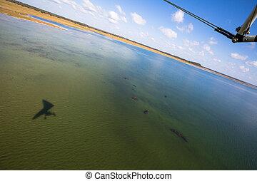 Lake Sibaya South Africa - Top view of Lake Sibaya with...